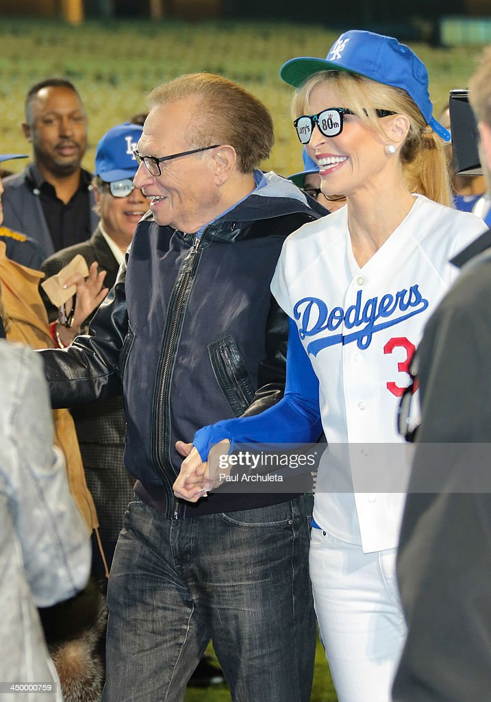 Radio / TV Personality Larry King (L) and his Wife Shawn King (R) attend a surprise party for Larry King's 80th Birthday at Dodger Stadium on November 15, 2013 in Los Angeles, California.