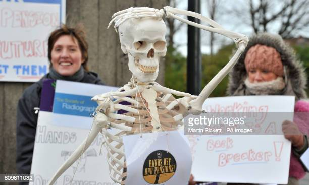 Radiographers from The Royal Liverpool Hospital on a picket line with a skeleton