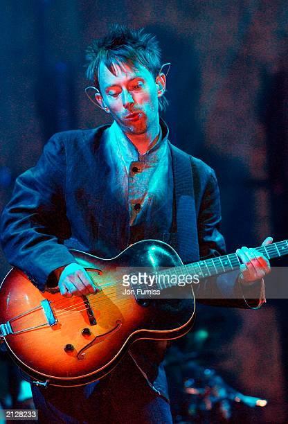 Radiohead frontman Thom Yorke performs at The Glastonbury Festival 2003 on June 28 2003 at Pilton in Shepton Mallett Glastonbury in England