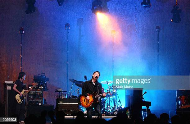 Radiohead frontman Thom Yorke performs at the MTV2 2$BILL Concert Series at the Beacon Theater June 5 2003 in New York City