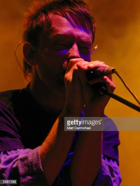 Radiohead's Thom Yorke performs supporting 'Hail to the Thief' at the Alpine Valley Amphitheater August 23 2003 in East Troy Wisconsin
