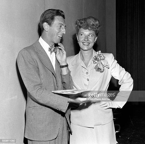 Ray Bolger and Joan Davis just before broadcast on the first show of the summer season Image dated July 6 1945