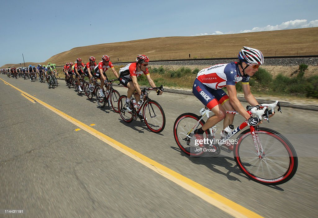 Radioshack team rider Ben King (R) of the USA leads his team during stage five of the 2011 AMGEN Tour of California from Seaside to Paso Robles on May 19, 2011 in Greenfield, California.