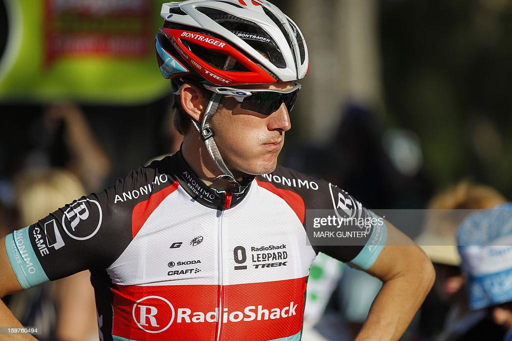 RadioShack-Leopard's Andy Schleck of Luxembourg is pictured before the start of the 51km People's Choice Classic prior to the Tour Down Under in Adelaide on January 20, 2013. The six-stage Tour Down Under takes place from January 20 to 27. AFP PHOTO / Mark Gunter USE