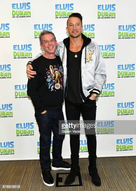 Radio/TV personality Elvis Duran and Carl Lentz the senior pastor of Hillsong Church New York City pose for a photo at Z100 Studio on November 20...