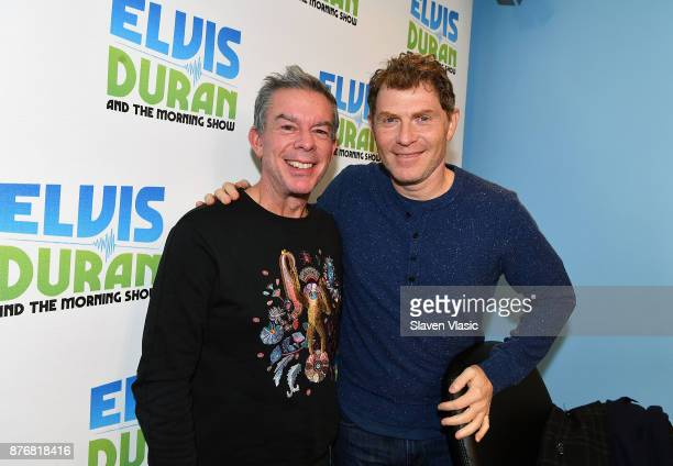 Radio/TV personality Elvis Duran and chef/TV personality Bobby Flay pose for a photo at 'The Elvis Duran Z100 Morning Show' at Z100 Studio on...