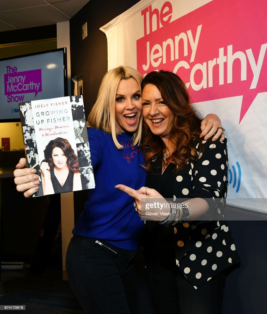 Radio/TV personality Jenny McCarthy (L) and actress Joely Fisher pose for a photo at The Jenny McCarthy Show at SiriusXM Studios on November 14, 2017 in New York City.