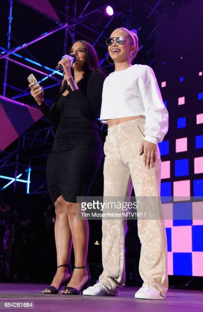Radio/TV personality Nessa 'Ness Nitty' and actor Jasmine Sanders speaks onstage at MTV Woodies LIVE on March 16 2017 in Austin Texas