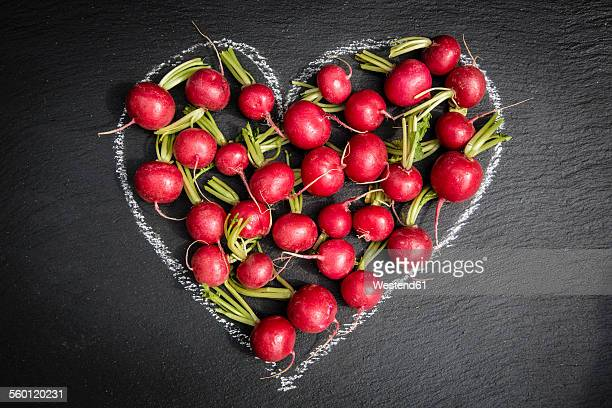 Radish in a heart of chalk on a slate
