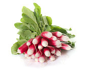 red radish in front of white background