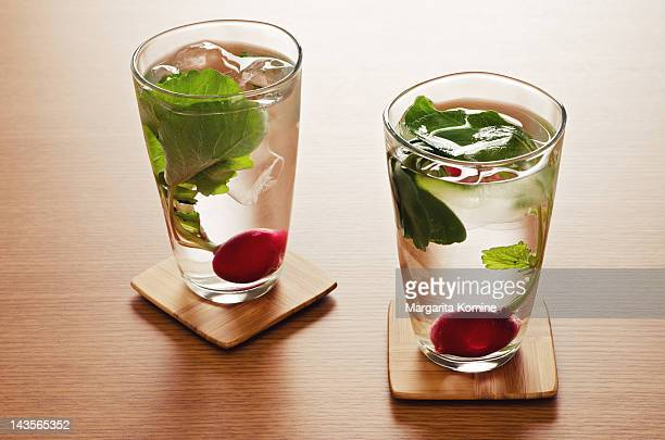 Radish water in glasses