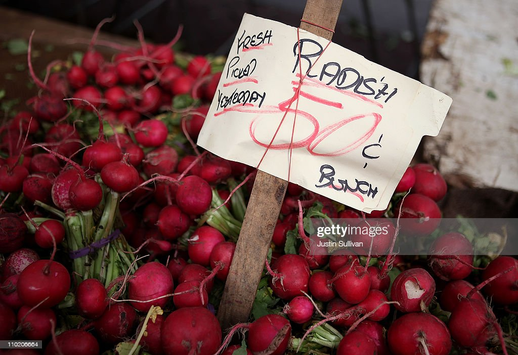 Radishes are seen on a table at a farmers market on March 16, 2011 in San Francisco, California. Wholesale prices in the United States spiked last month with a 3.3% rise in energy prices and a 3.9% jump in food prices.