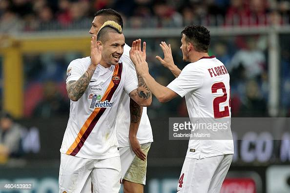 Radja Nainggolan and Alessandro Florenzi of AS Roma celebrates after scoring a goal during the Serie A match between Genoa CFC and AS Roma at Stadio...