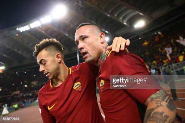 Radja Nainggolan and Stephan El Shaarawy of Roma celebration after the goal of 20 during the Italian Serie A football match AS Roma vs Lazio on...