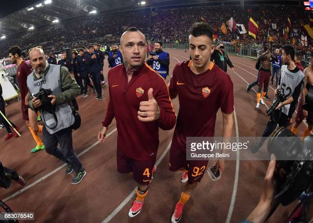 Radja Nainggolan and Stephan Kareem El Shaarawy of AS Roma celebrate the victory after the Serie A match between AS Roma and Juventus FC at Stadio...