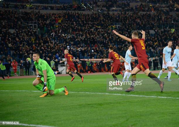 Radja Nainggolan celebrates after scoring goal 20 during the Italian Serie A football match between AS Roma and SS Lazio at the Olympic Stadium in...