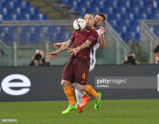 Radja Nainggolan during the Europe League football match AS Roma vs Olympique Lyonnais at the Olympic Stadium in Rome on march 16 2017