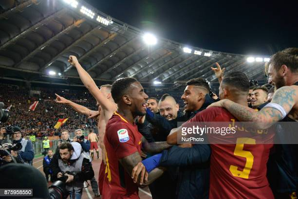 Radja Nainggolan Gerson celebretes during the Italian Serie A football match between AS Roma and SS Lazio at the Olympic Stadium in Rome on november...