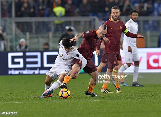 Radja Nainggolan Mati Fernandez during the Italian Serie A football match between AS Roma and AC Milan at the Olympic Stadium in Rome on december 12...