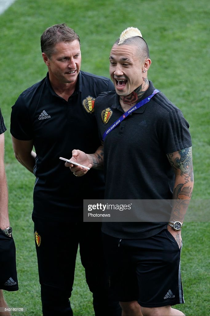 Radja Nainggolan midfielder of Belgium and Vital Borkelmans ass coach of Belgian Team before the UEFA EURO 2016 Round of 16 match between Hungary and Belgium at the Stadium Toulouse on June 26, 2016 in Toulouse, France ,