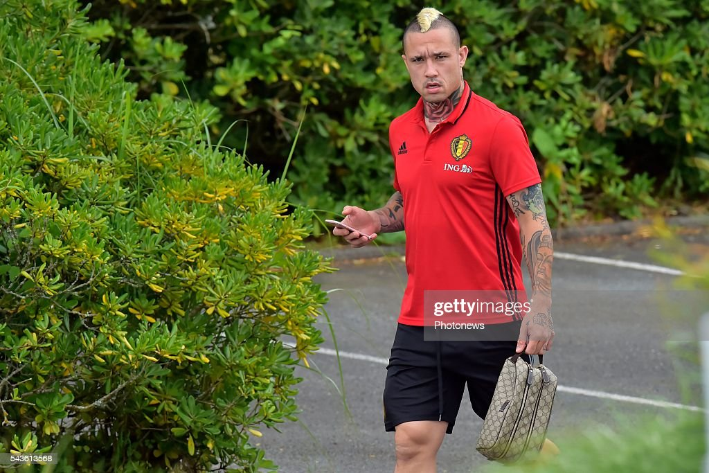 Radja Nainggolan midfielder of Belgium pictured before a closed training session of the National Soccer Team of Belgium as part of the preparation prior to the UEFA EURO 2016 quarter final match between Wales and Belgium at the Chateau de Haillan training center on June 29, 2016 in Bordeaux, France ,