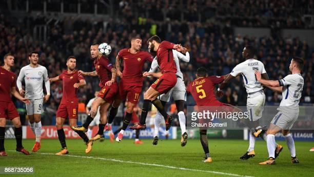 Radja Nainggolan of AS Roma and Aleksandar Kolarov of AS Roma in action during the UEFA Champions League group C match between AS Roma and Chelsea FC...