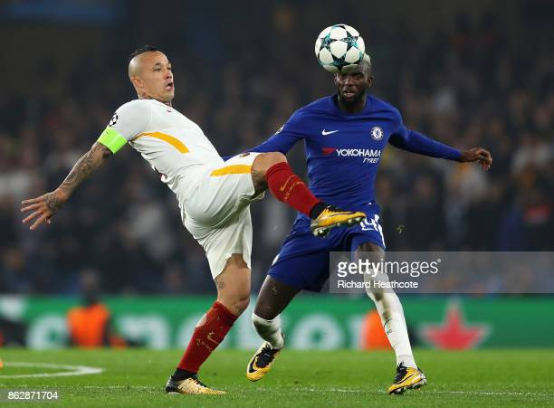 Radja Nainggolan of AS Roma and Tiemoue Bakayoko of Chelsea battle for possession during the UEFA Champions League group C match between Chelsea FC...