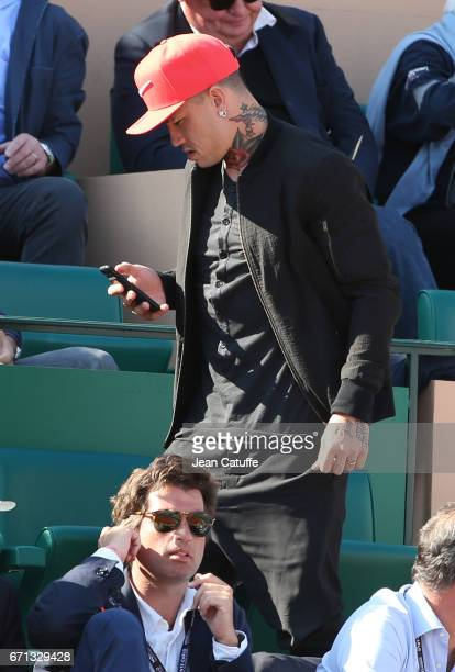 Radja Nainggolan of AS Roma attends day 6 of the MonteCarlo Rolex Masters an ATP Tour Masters Series 1000 on the clay courts of the MonteCarlo...