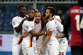 Radja Nainggolan of AS Roma celebrates after scoring a goal during the Serie A match between Genoa CFC and AS Roma at Stadio Luigi Ferraris on...