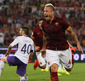 Radja Nainggolan of AS Roma celebrates after scoring the opening goal during the Serie A match between AS Roma and ACF Fiorentina at Stadio Olimpico...