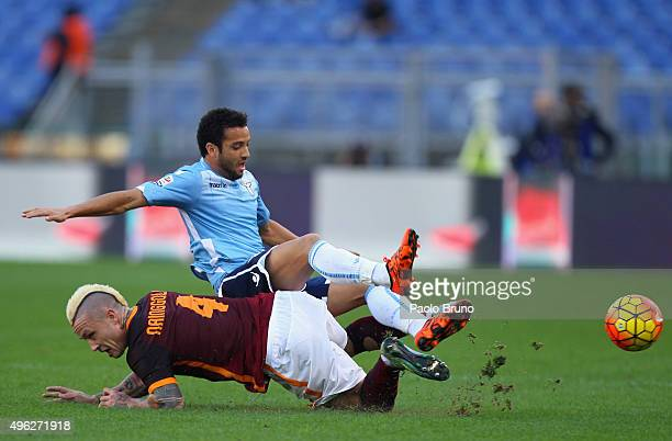 Radja Nainggolan of AS Roma competes for the ball with Felipe Anderson of SS Lazio during the Serie A match between AS Roma and SS Lazio at Stadio...