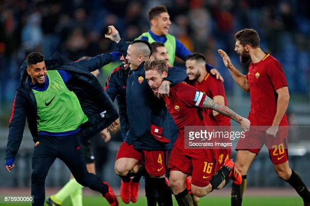 Radja Nainggolan of AS Roma Daniele de Rossi of AS Roma celebrates the victory Federico Fazio of AS Roma during the Italian Serie A match between AS...