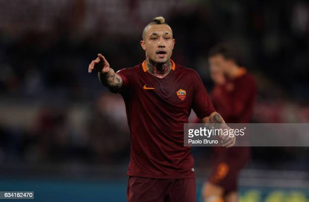 Radja Nainggolan of AS Roma gestures during the Serie A match between AS Roma and ACF Fiorentina at Stadio Olimpico on February 7 2017 in Rome Italy
