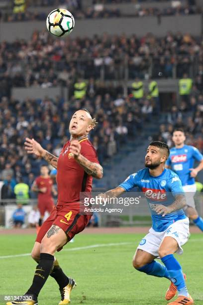 Radja Nainggolan of AS Roma in action against Lorenzo Insigne of SSC Napoli during the Serie A soccer match between AS Roma and SSC Napoli at Stadio...