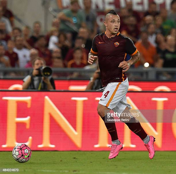 Radja Nainggolan of AS Roma in action during the preseason friendly match between AS Roma and Sevilla FC at Olimpico Stadium on August 14 2015 in...