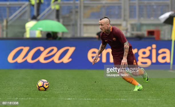 Radja Nainggolan of AS Roma in action during the Serie A match between AS Roma and SSC Napoli at Stadio Olimpico on March 4 2017 in Rome Italy