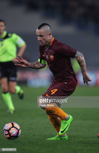 Radja Nainggolan of AS Roma in action during the Serie A match between AS Roma and US Sassuolo at Stadio Olimpico on March 19 2017 in Rome Italy