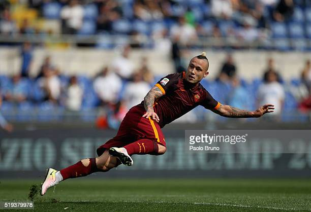 Radja Nainggolan of AS Roma in action during the Serie A match between SS Lazio and AS Roma at Stadio Olimpico on April 3 2016 in Rome Italy