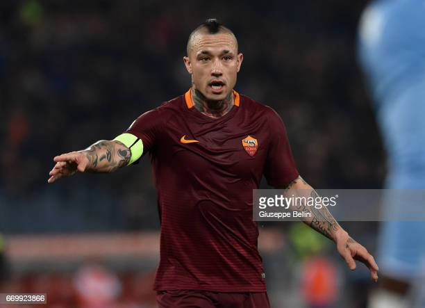 Radja Nainggolan of AS Roma in action during the TIM Cup match between AS Roma and SS Lazio at Stadio Olimpico on April 4 2017 in Rome Italy