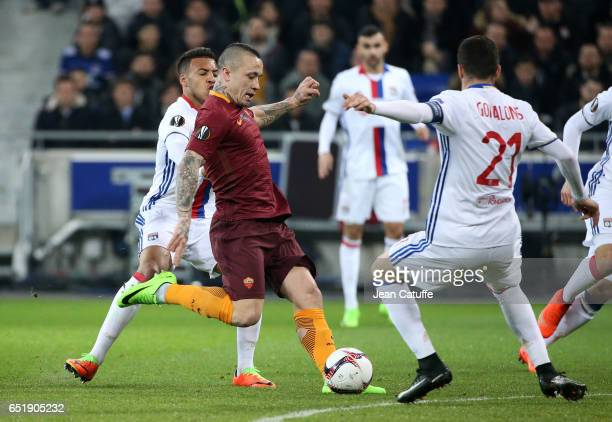 Radja Nainggolan of AS Roma in action during the UEFA Europa League Round of 16 first leg match between Olympique Lyonnais and AS Roma at Parc OL on...