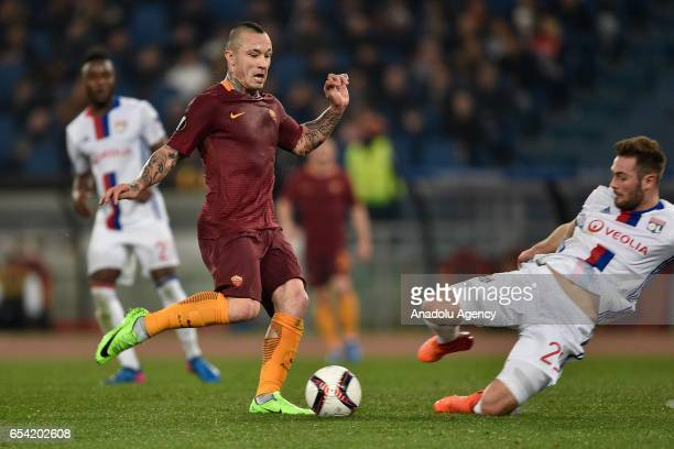 Radja Nainggolan of AS Roma in action during the UEFA Europa League soccer match between AS Roma and Olympique Lyonnais at Stadio Olimpico on March...
