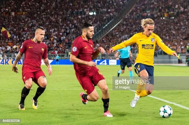 Radja Nainggolan of AS Roma Kostas Manolas of AS Roma Antoine Griezmann of Club Atletico de Madrid during the UEFA Champions League group C match...