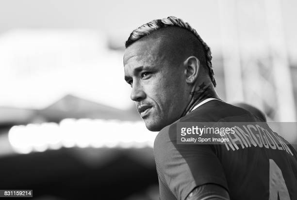 Radja Nainggolan of AS Roma looks on during the preseason friendly match between Celta de Vigo and AS Roma at Balaidos Stadium on August 13 2017 in...