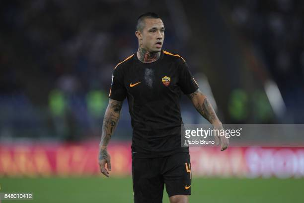 Radja Nainggolan of AS Roma looks on during the Serie A match between AS Roma and Hellas Verona FC at Stadio Olimpico on September 16 2017 in Rome...