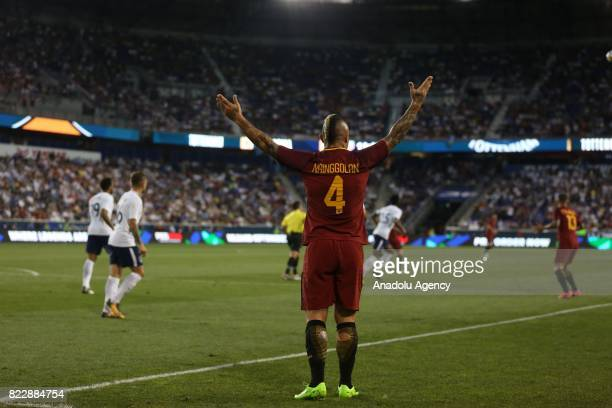 Radja Nainggolan of AS Roma reacts during a friendly match between AS Roma and Tottenham Hotspur within International Champions Cup 2017 at Redbull...