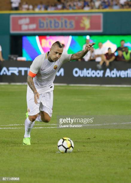 Radja Nainggolan of AS Roma talked a penalty shot during overtime of a match against Paris SaintGermain during the second half at Comerica Park on...