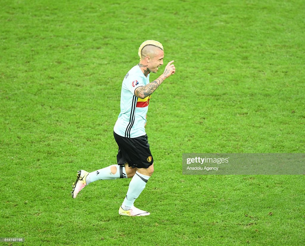 Radja Nainggolan of Belgium celebrates after scoring a goal during the Euro 2016 quarter-final football match between Wales and Belgium at the Stadium Pierre Mauroy in Lille, France on July 1, 2016.