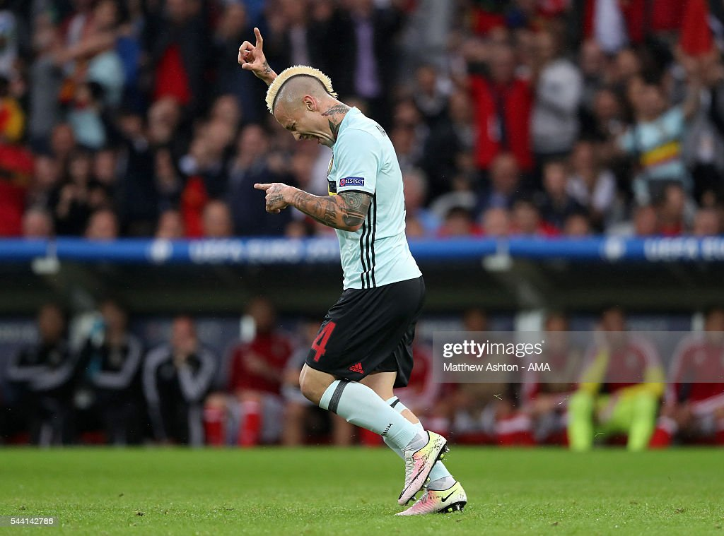 <a gi-track='captionPersonalityLinkClicked' href=/galleries/search?phrase=Radja+Nainggolan&family=editorial&specificpeople=6339191 ng-click='$event.stopPropagation()'>Radja Nainggolan</a> of Belgium celebrates after scoring a goal to make it 0-1 during the UEFA Euro 2016 quarter final match between Wales and Belgium at Stade Pierre-Mauroy on July 1, 2016 in Lille, France.