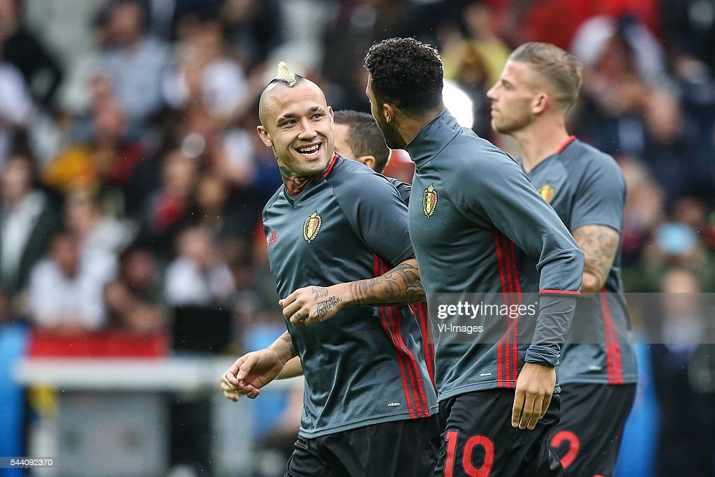 Radja Nainggolan of Belgium, Mousa Dembele of Belgium, Toby Alderweireld of Belgium during the UEFA EURO 2016 quarter final match between Wales and Belgium on July 2, 2016 at the Stade Pierre Mauroy in Lille, France.
