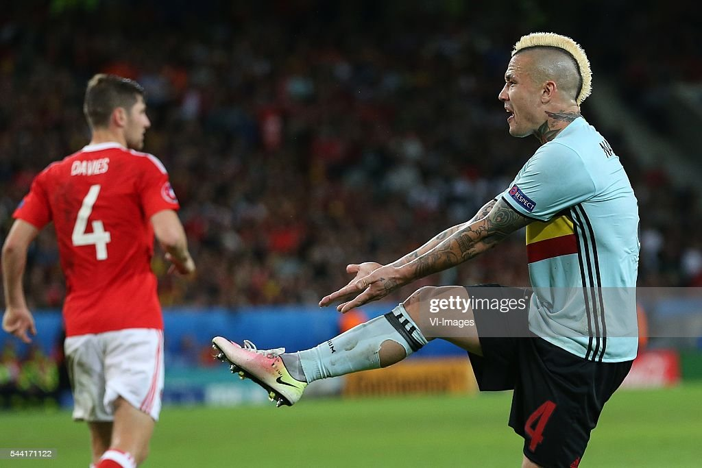Radja Nainggolan of Belgium objects, disappointed during the UEFA EURO 2016 quarter final match between Wales and Belgium on July 2, 2016 at the Stade Pierre Mauroy in Lille, France.